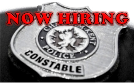 Now-Hiring with police badge ad