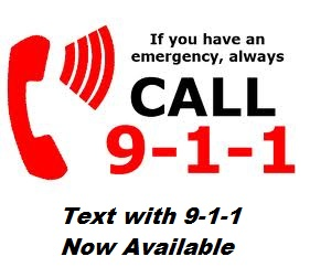 Text with 911 poster